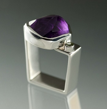 Amethyst and Peridot Sterling Silver Trapezoid Ring