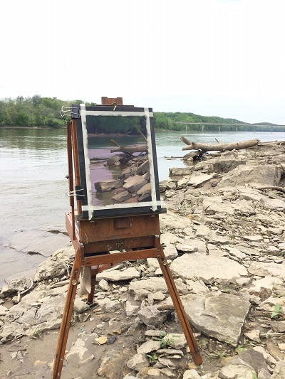 </i>A photograph of <i>Quiet</i> on location at the Des Moines River.<i>