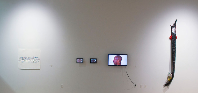 </i>Installation view of <i>The Mis-Education of the Black American
