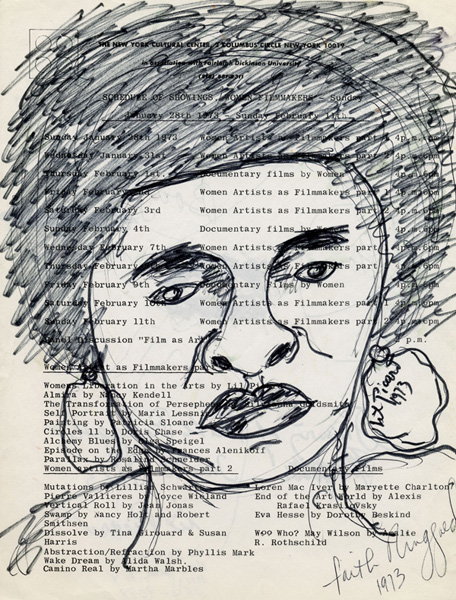 Drawing of Faith Ringgold on New York Cultural Center Program