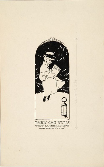 Design for Christmas Card (Merry Christmas: Marvin & Winnifred Cone and Doris Elaine)