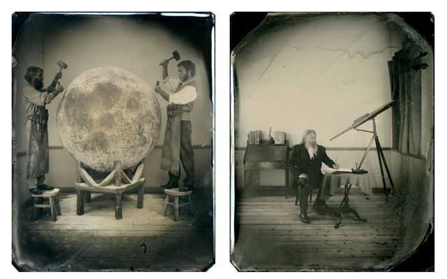 "from the series ""The Man and the Moon "" diptych"